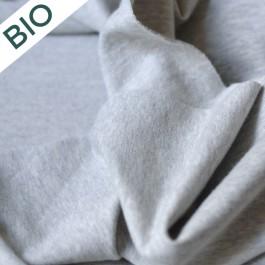 Molleton gratté gris chiné en coton bio