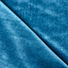 tissu velours fleurs incrustées bleu pétrole