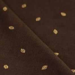 Tissu velours milleraies marron chocolat lurex feuilles