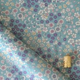 Tissu coton imprimé Lecien fleurs bleu-vert