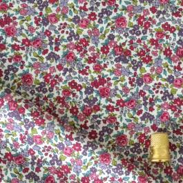 Coton imprimé Lecien fleurs framboise