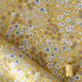 Tissu coton imprimé Lecien fleurs jaune moutarde