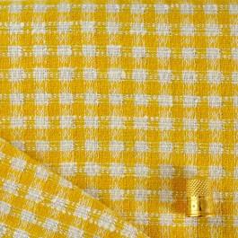 Coupon de 0.85 m de lainage carreaux jaune et blanc