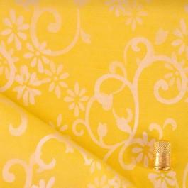 Coupon de 70 cm de tissu damassé jaune à base colorée