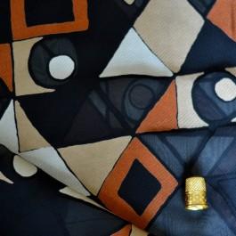Tissu voile motifs ethnique rouille et beige