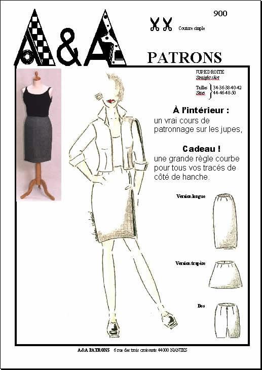Patron couture jupe droite p900 a a patrons - Patron couture jupe droite ...