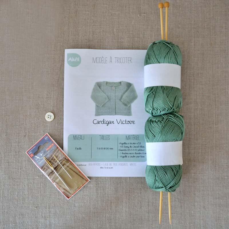 kit tricot b b gilet victoire d butant facile layette cadeau naissance a a patrons. Black Bedroom Furniture Sets. Home Design Ideas