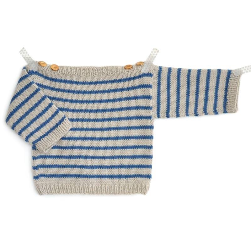 Modèle tricot bébé marinière Augustin enfant en laine ambiance de Fonty aiguilles 4 facile ...