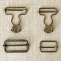 Attache salopette bronze, boucle et bouton 25, 30 et 40 mm