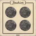 Bouton métal argent arabesque