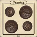 Bouton métal cor de chasse bronze
