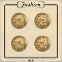 Bouton métal Or feuillage