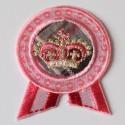 Écusson thermocollant british couronne rose et dorée