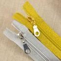 Fermeture à glissière Lurex 20 cm argent ou or