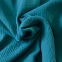 Tissu double gaze coton bleu canard