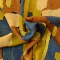 Tissu graphique beige, bleu, vert
