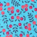 Tissu popeline coton fleurs rose & turquoise