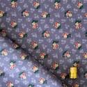 Coupon d'1,75 m de tissu violet à petites fleurs