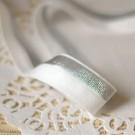 Biais élastique lurex argent sur blanc