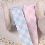 Biais vichy rose et bleu layette