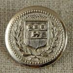 Bouton armoiries hermine et étoiles argent 22 mm
