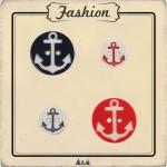 bouton ancre marine rouge ou bleu marine 13 et 20 mm