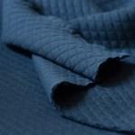 Jersey piqué de coton à losanges bleu foncé Duval