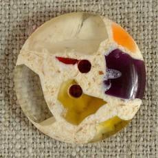 Bouton semi-transparent violet orange diamètres 14-18-22 mm