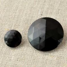 Bouton rond à facettes noir de jais