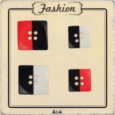 Bouton bicolore carré noir et rouge ou blanc et noir