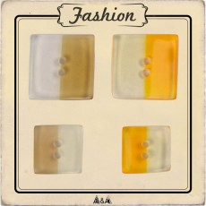 Bouton carré bicolore transparent couture