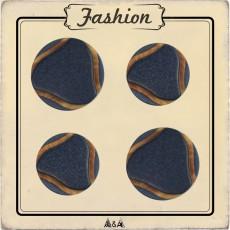 bouton bleu foncé à coudre avec imitation bois