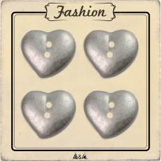 Bouton coeur en argent bombé 15 mm