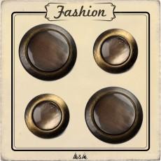 bouton marbré cercle bronze