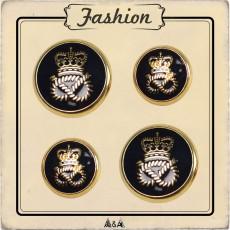 Bouton métal marine royale corde et couronne