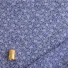 Cotonnade bleu à fleurs blanches type liberty