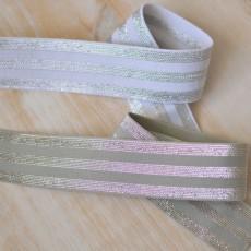 Elastique à bandes argent lurex sur gris ou blanc au mètre