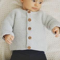 Kit à tricoter gilet facile pour bébé Paul en Alto gris perle 071