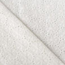 Tissu coton brodé blanc cassé pas cher