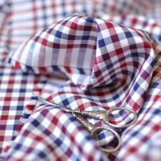 Tissu carreaux rouge bleu à carreaux coton Bio