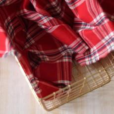Tissu à carreaux flanelle de coton bleu fond rouge