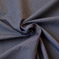 Tissu chambray jean à pois blanc en coton Bio