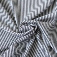 Tissu crépon de coton à rayures noires
