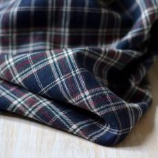 Tissu bio écossais bleu marine et blanc