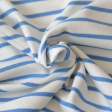 Interlock de coton bio marinière bleu