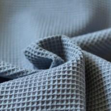 Tissu nid d'abeille en coton Bio bleu jean