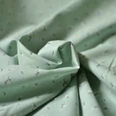 Tissu popeline fine vert sauge imprimée à fleurs en coton Bio