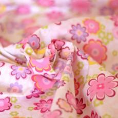 Tissu coton au mètre fleurs rose