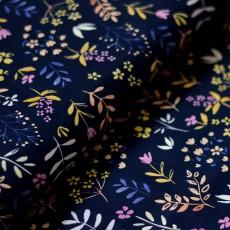 Tissu fleurs et feuilles bleu marine popeline 100% coton bio