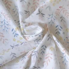Tissu popeline coton bio fleurs et feuilles gris et rouille sur fond blanc